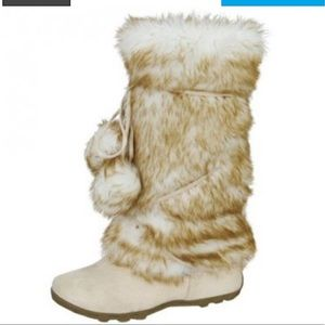 fashion ice faux suede mid-calf faux fur boots